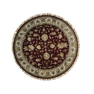 Round Burgundy Rajasthan Wool and Silk Hand Knotted Rug (7' x 7')