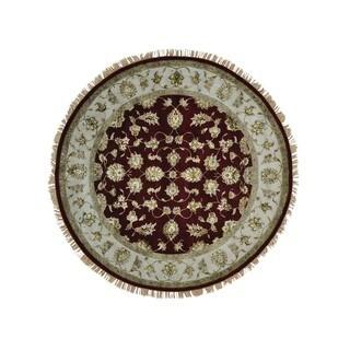 Round Wool and Silk Burgundy Rajasthan Handmade Oriental Rug (7' x 7')
