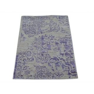 Broken Design Heriz Hand Knotted Wool and Viscose Rayon from Bamboo Rug (2' x 3')
