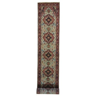 XL Runner Handmade Antiqued Heriz Recreation Oriental Rug (2'7 x 19'9)