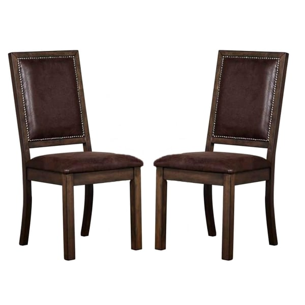Canopy Rustic Dining Chairs With Nailhead Trim Set Of 2