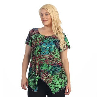 Ella Samani Women's Plus Size Multi Color Leopard Top