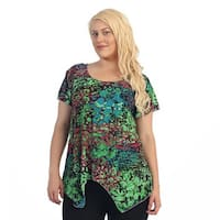 Ella Samani Women's Plus Size Multi Color Leopard Top