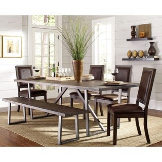 Canopy Wire Brushed Rustic Metal and Wood Dining Set