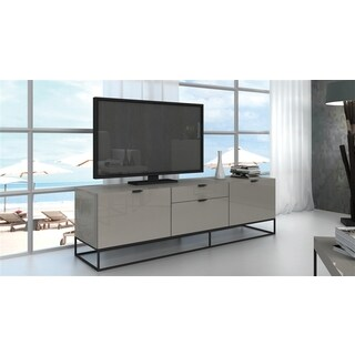 VIZZIONE Collection High Gloss Light Gray Lacquer Entertainment Center by Casabianca Home