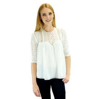 Relished Women's Cecile White Lace Blouse