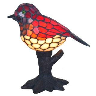River of Goods 10-inch Tiffany Style Stained Glass Song Bird Accent Lamp
