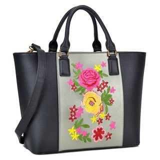 Dasein Classic Designer Flower Embroidery Collection Large Laptop Tote Bag