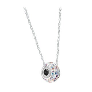 Pori Crystal Elements Pave Pendant with Sterling Silver Chain Necklace