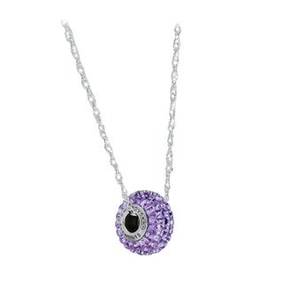 Pori Sterling Silver Crystal Elements BeCharmed Pave Amethyst Crystal Chain Necklace