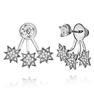 Pori 18k Goldplated Sterling Silver Triple Star Cubic Zirconia Jacket Earrings