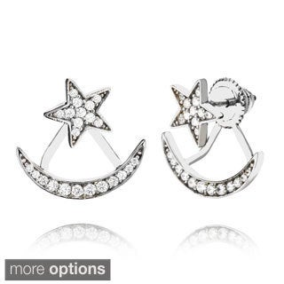 Pori 18k Gold or Black Rhodium-plated Sterling Silver Star and Moon Cubic Zirconia Jacket Earrings