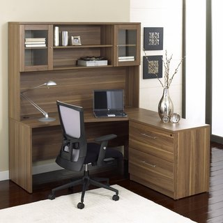 Corner L-Shaped Desk with Hutch and Lateral File in Walnut