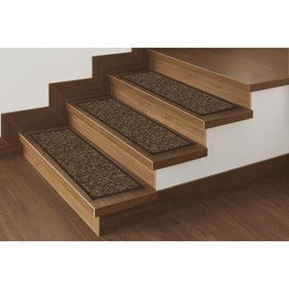 Ottomanson Affordable Set of 7 Skid-resistant Rubber Backing Non-slip Carpet Stair Treads-Machine Washable (8.5
