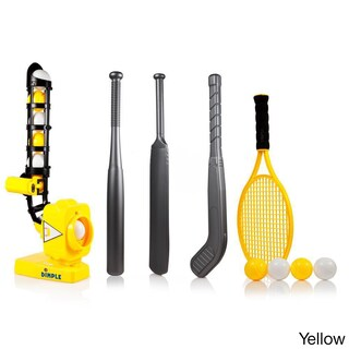 Dimple 4-in-1 Power Pro Kids Pitching Machine, with Baseball bat, Tennis Racket, Hockey Stick, and Cricket Bat (2 options available)