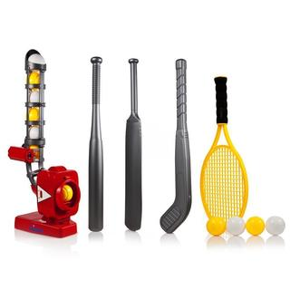 Dimple 4-in-1 Power Pro Kids Pitching Machine, with Baseball bat, Tennis Racket, Hockey Stick, and Cricket Bat