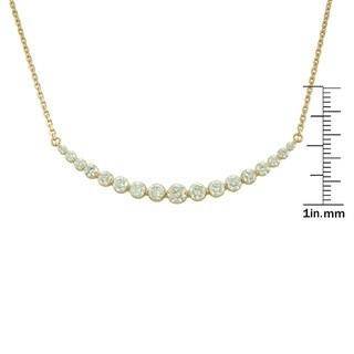 14k Gold 1.85CTtw Graduating White Diamond Bar Necklace (G-H, SI1-SI2)