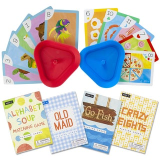 Classic Children's Card Games with 2 Card Holders (Set of 4)