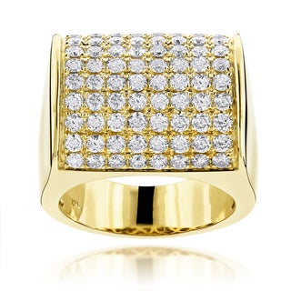 Luxurman 14k Gold Men's 4ct TDW Diamond Pave Wedding Ring (H-I, SI1-SI2)