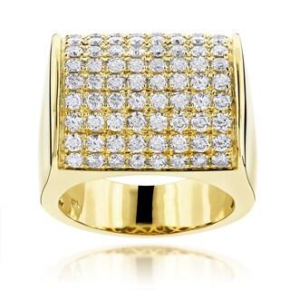 Luxurman 14k Gold Men's 4ct TDW Diamond Pave Wedding Ring