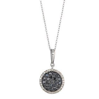 14k White Gold 3/4ct TDW Round Black and White Diamond Pendant Necklace