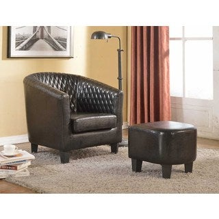 Isabella Black Faux Leather Accent Chair and Ottoman