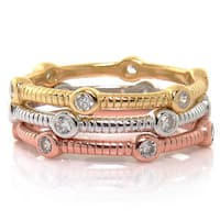 Eternally Haute Tri-color Sterling Silver Pave Cubic Zirconia Stackable Cable Rings (Set of 3)
