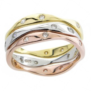 Eternally Haute Tri-color Sterling Silver Stackable Pave Cubic Zirconia Wave Ring (Set of 3)