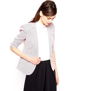 French Connection Joany Red And White Striped Cotton Blazer