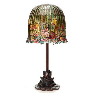 Gracewood Hollow Khadra Tiffany-Style Pond Lily Stained Glass Table Lamp