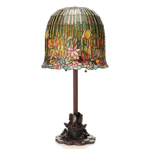 "Copper Grove Josiah Tiffany-style Pond Lily Stained Glass Table Lamp - 14.5""L x 14.5""W x 29""H"
