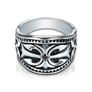 Cobalt Men's Diamond Accent Black Inlay Ring