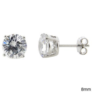 Eternally Haute Solid Sterling Silver Round Cubic Zirconia Stud Earrings