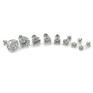 Eternally Haute Solid Sterling Silver Round Cubic Zirconia Stud Earrings