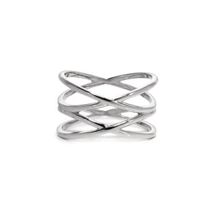 Eternally Haute Rhodium-plated Double Helix X Ring