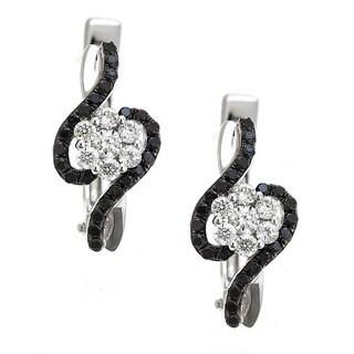 14k White Gold 3/4ct TDW Black and White Diamond Earrings