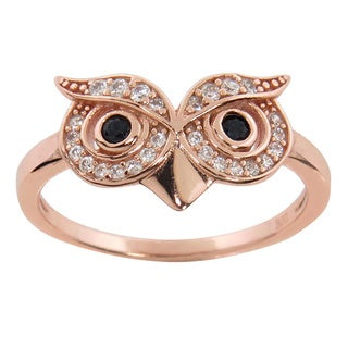 Eternally Haute 14k Rose Gold over Sterling Silver Pave Cubic Zirconia Owl Ring - Pink
