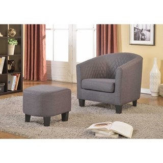 Isabella Fabric Accent Chair and Ottoman
