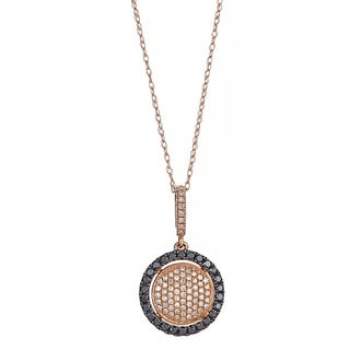 14k Rose Gold 2/5ct TDW Black and White Diamond Necklace (H-I, SI1-SI2)