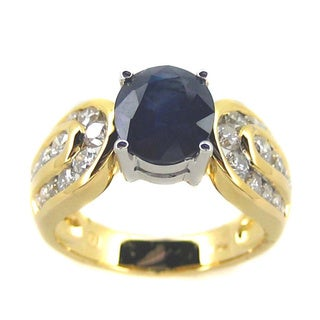 Kabella 18k Yellow Gold Sapphire and 1ct TDW Diamond Ring (G-H, SI2) (Size 7.25)
