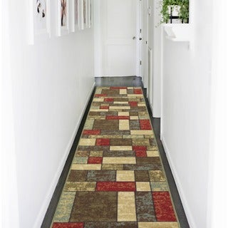 Ottohome Collection Multicolor Contemporary Boxes Design Non-slip Runner Rug (2'7' x 10')