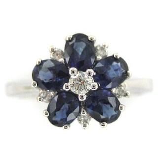 Kabella 18k White Gold Sapphire and 1/8ct TDW Diamond Flower Ring (G-H, SI1)