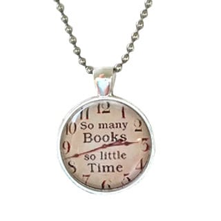 Atkinson Creations So Many Books So Little Time Glass Dome Necklace