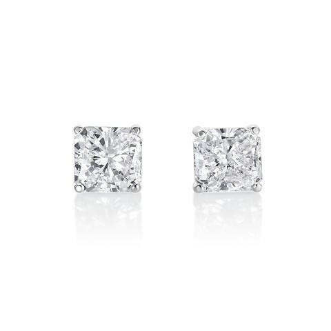 SummerRose 14k White Gold 4 1/5ct TDW Radiant-cut Diamond Solitaire Stud Earrings (J-K, SI2-SI3) - White H-I