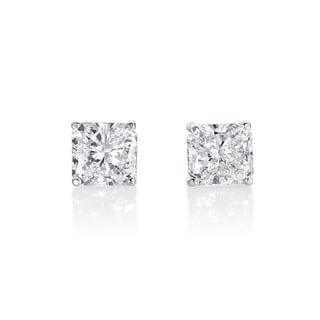 SummerRose 14k White Gold 4 1/5ct TDW Radiant-cut Diamond Solitaire Stud Earrings (J-K, SI2-SI3)