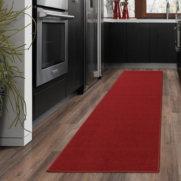Ottomanson Ottohome Collection Carpet Red Solid Runner Rug with Non-slip Rubber Backing (1'10 x 12')