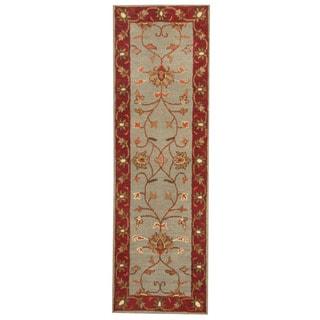 Herat Oriental Indo Hand-tufted Mahal Light Blue/ Burgundy Wool Rug (2'6 x 8')