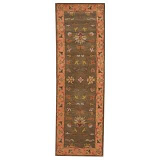 Herat Oriental Indo Hand-tufted Mahal Dark Green/ Pink Wool Rug (2'6 x 8'2)