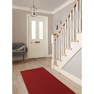 Ottomanson Ottohome Collection Carpet Red Solid Runner Rug with Non-slip Rubber Backing (2'7 x 12')