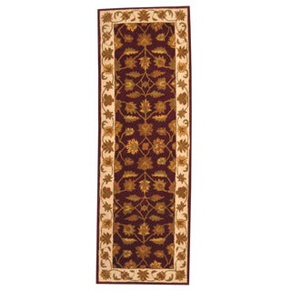 Herat Oriental Indo Hand-tufted Mahal Burgundy/ Ivory Wool Rug (2'5 x 7'4)